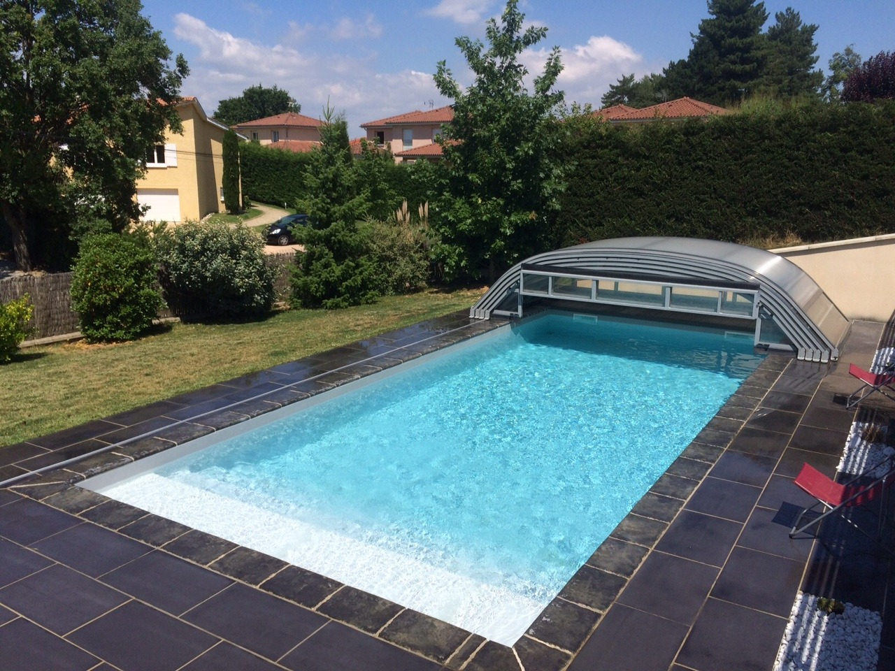 Elitys mianso abri de piscine bas t lescopique ec 39 creation for Abri de piscine bas